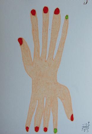 [지후나무작업실]오일파스텔일러스트 - 샴 손 - 딱 붙어있고 싶으다.