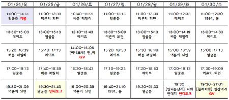 [01.24-01.30 상영시간표] 얼굴들 / 메이트 / 버블 패밀리 / 어른이 되면 / 1991, 봄