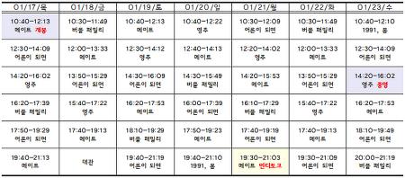 [01.17-01.23 상영시간표] 메이트 / 버블 패밀리 / 어른이 되면 / 영주 / 1991, 봄