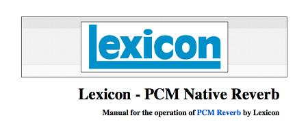 Lexicon - PCM Reverb Pt1
