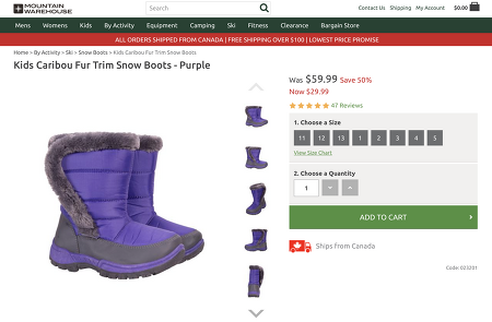 Kids Caribou Fur Trim Snow Boots  - up to 50% sale