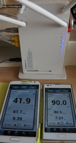 저렴한 ipTIME N904 (5Ghz, 2.4Ghz 듀얼밴드 채널, 채널본딩 지원) 유무선 공유기  추천.  무선랜 속도 측정 벤치비, 갤럭시 노트2 vs 옵티머스 LTE2  비교 사용기,  N8004R vs N904 차이. 90Mbps 이상 무선랜공..