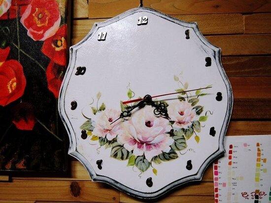 [포크아트 소품] 쉐비장미 벽시계