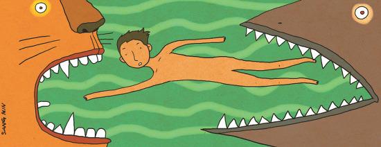 인간의 치아와 상어의 치아