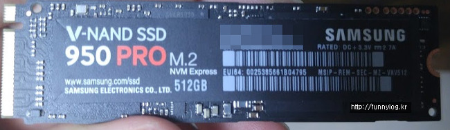 윈도우7 노트북 (Windows 7) 삼성 950 pro V-NAMD SSD NVME M.2 삽질 교체 후기 및 사용기 및 드라이버