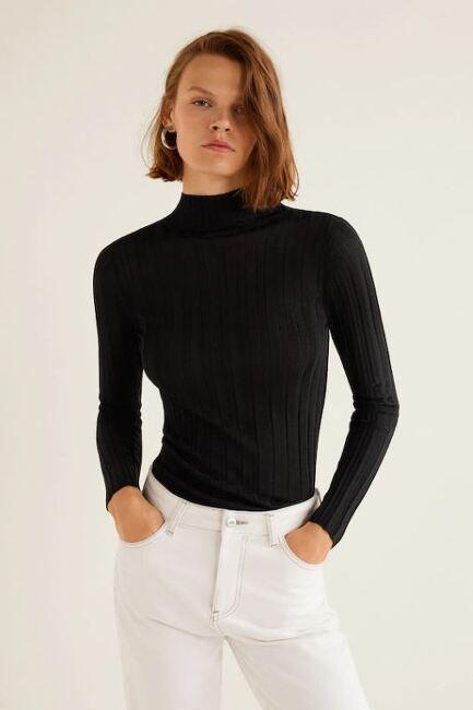 MANGO 터틀넥 리브드 스웨터