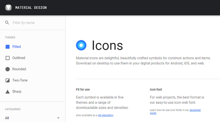 Android - Material icon 의 사용 in Android Studio