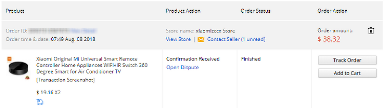 [Aliexpress] 샤오미 미 리모트(Xiaomi Original Mi Universal Smart Remote Controller) ($19.16)