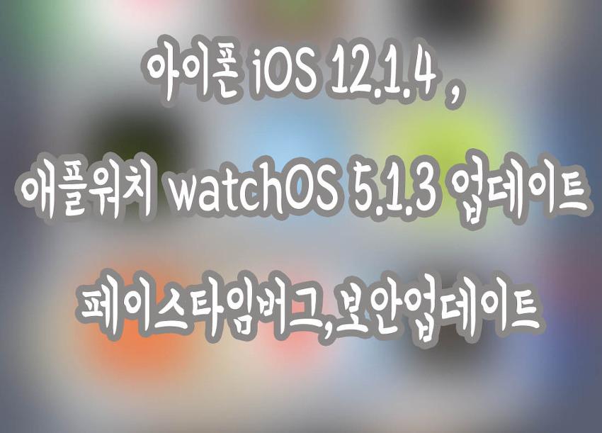아이폰 iOS 12.1.4 , 애플워치 watchOS 5.1.3 업데이트 페이스타임버그,보안업데이트