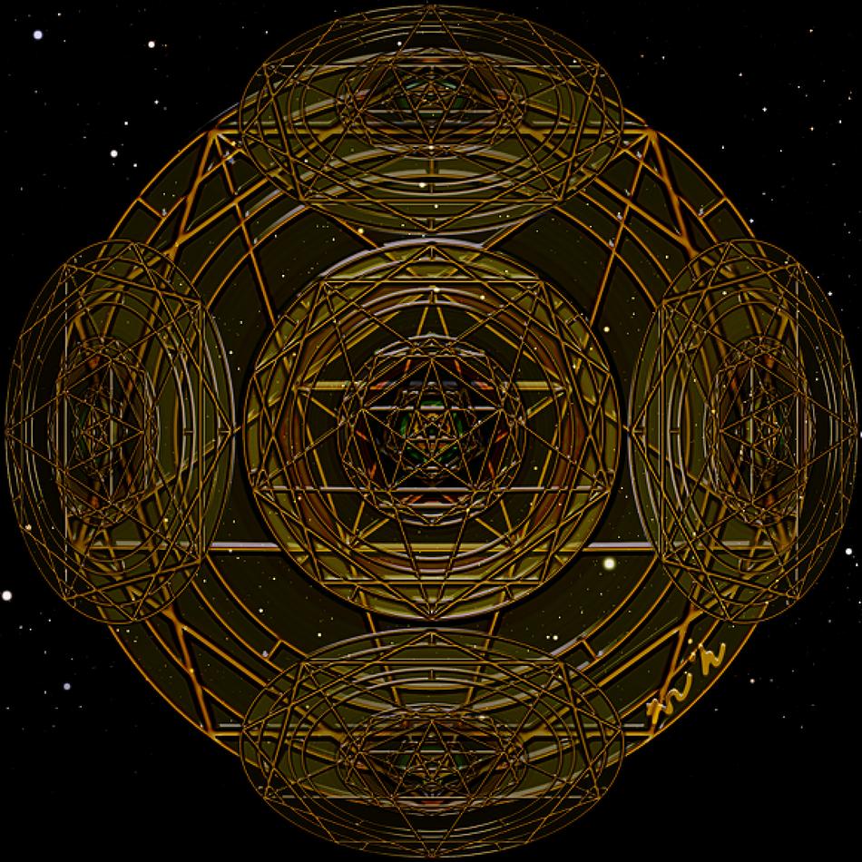 황금 오망성(Pentagram) 만다라 Mandala(히란야) 문양 a3b04a1